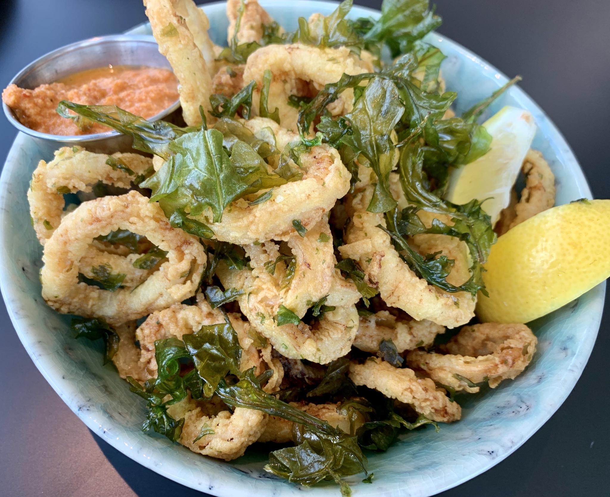 Fried Calamari - pickled peppers, arugual, sauce romesco
