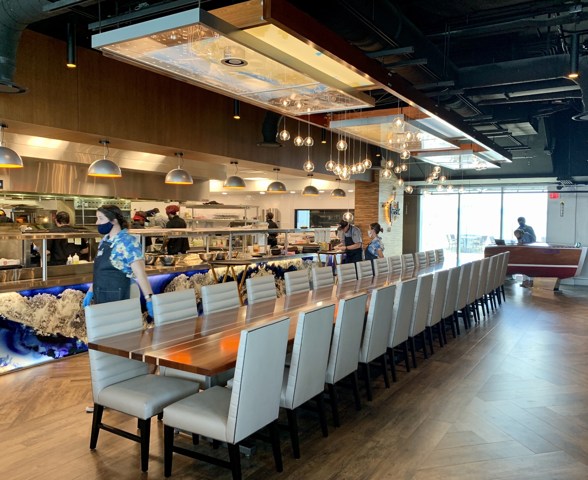 Teak at the St Pete Pier - Open kitchen with communal table