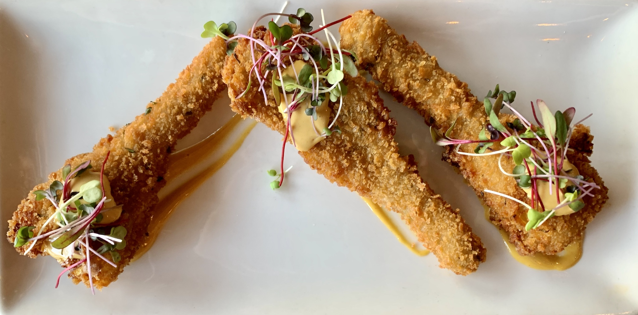 Parmaesan Panko Crusted Long Stem Artichoke Hearts with sunflower aioli