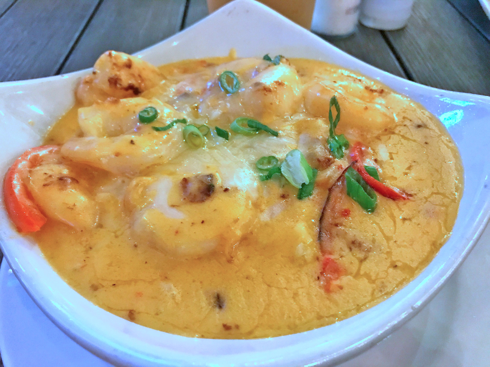 Smothered Shrimp & Grits from Sea Dog Brew Pub in Treasure Island