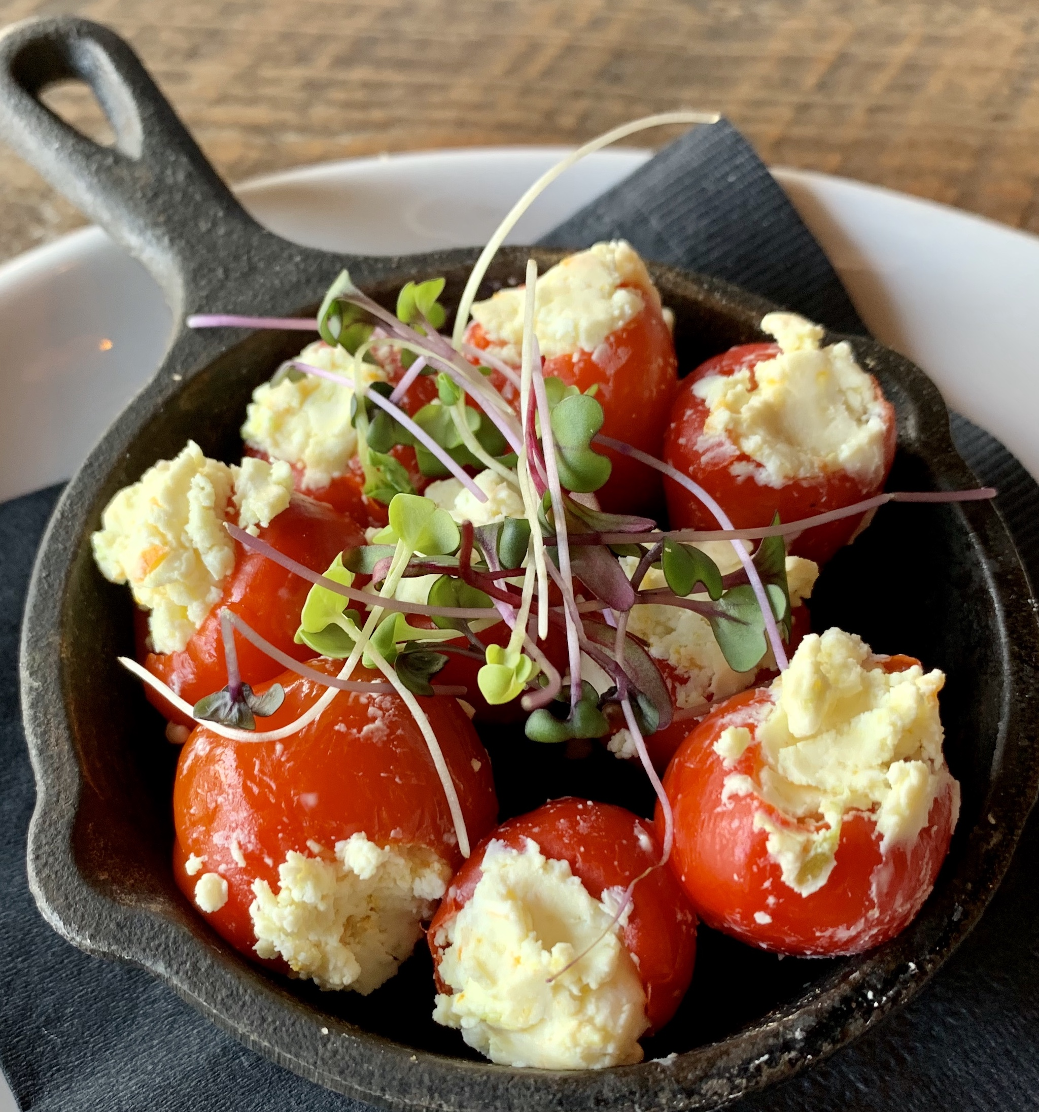 Stuffed Peppadews with citrus herbed goat cheese
