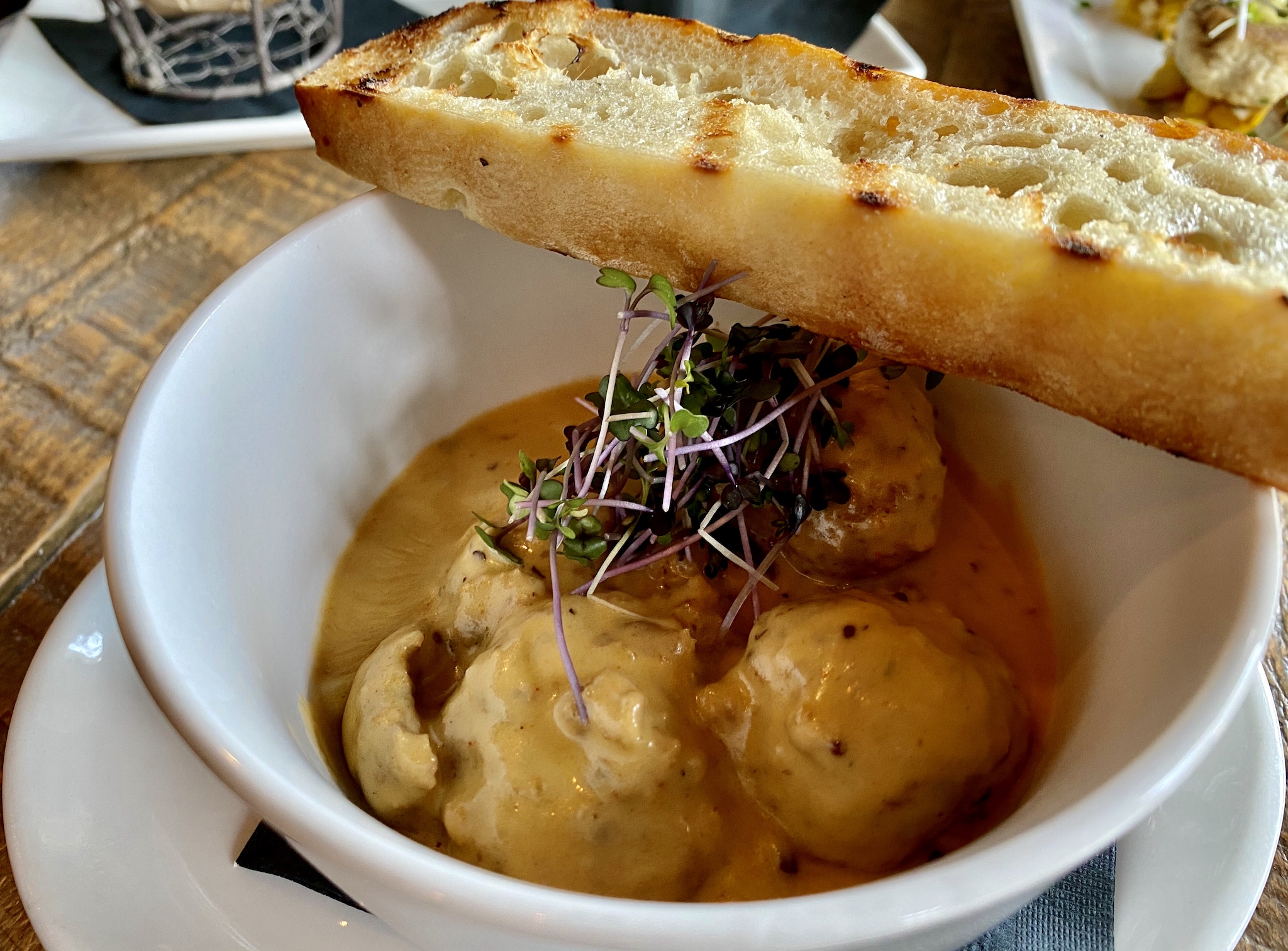 Swedish Meatballs with sherry cream sauce and grilled focaccia