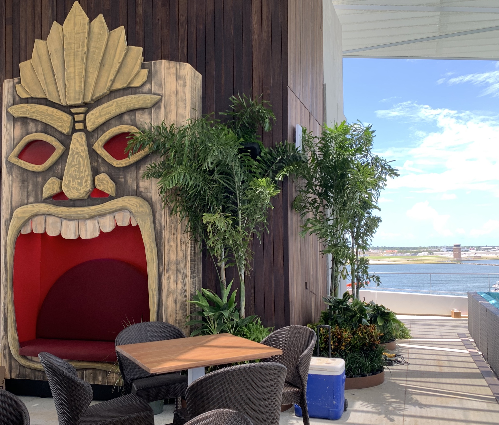 Upstairs at Pier Teaki rooftop bar - working to get it all ready.