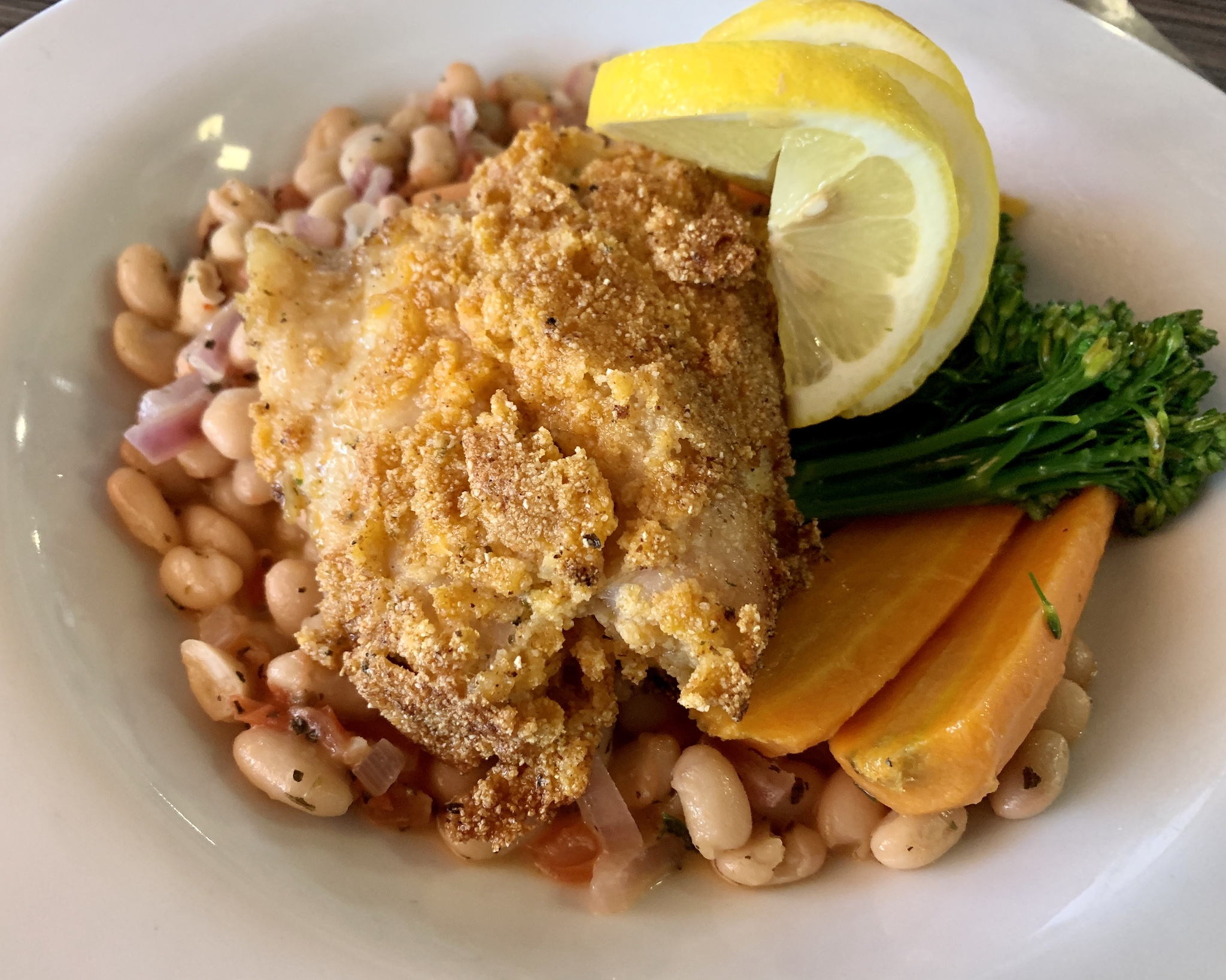 Compass Grille - Cornmeal-Dusted Fresh Florida Grouper with white bean ragout, braised fennel and chef's choice of vegetables