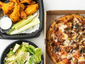 Doormét Premium Wings, Brooklyn Pizza, Half Caesar Salad