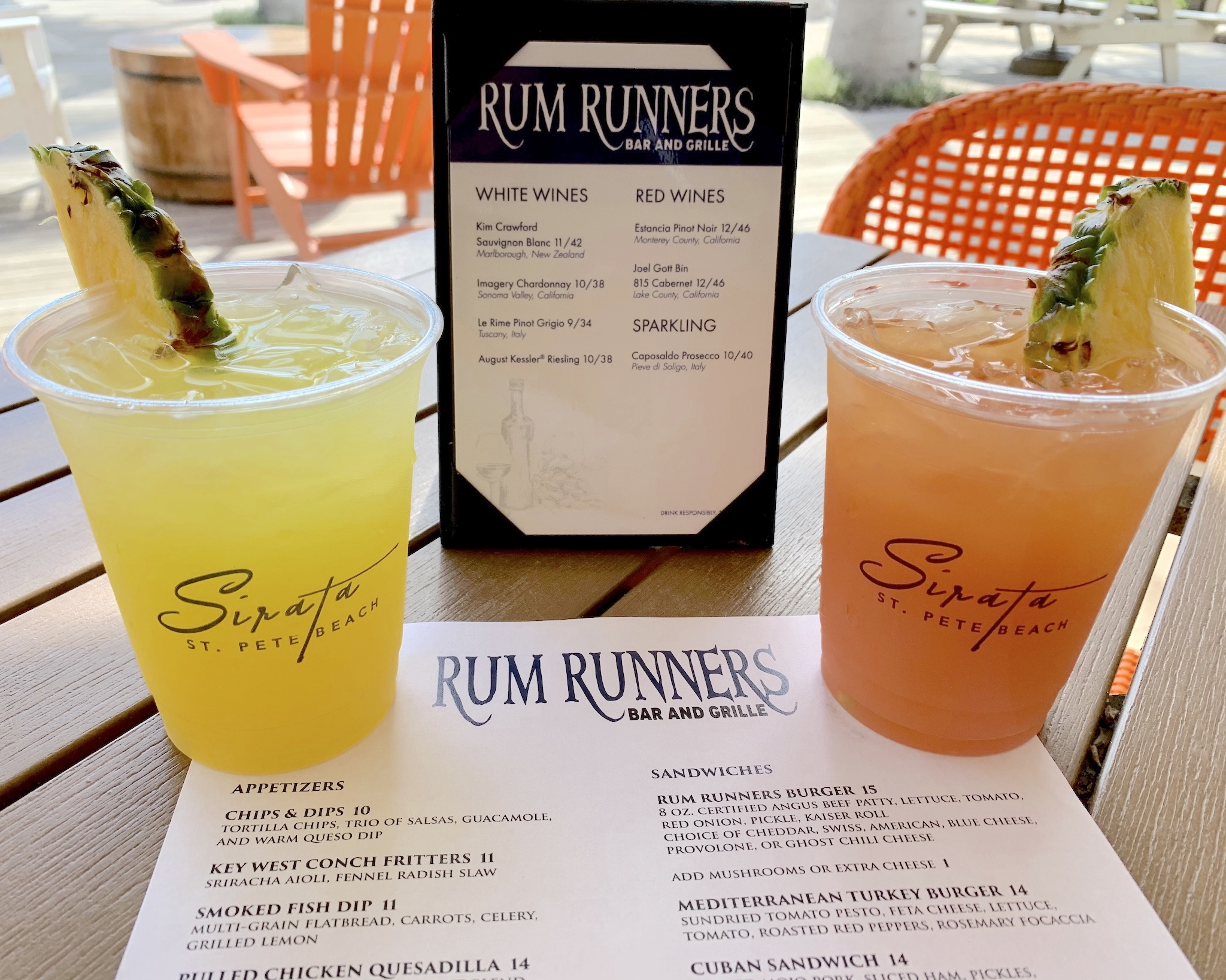 Rum Runners - Iguana Cooler - coconut rum, melon liqueur and pineapple juice; The Rum Runner - light and dark rums, banana liqueur, blackberry brandy and a float of 151 rum