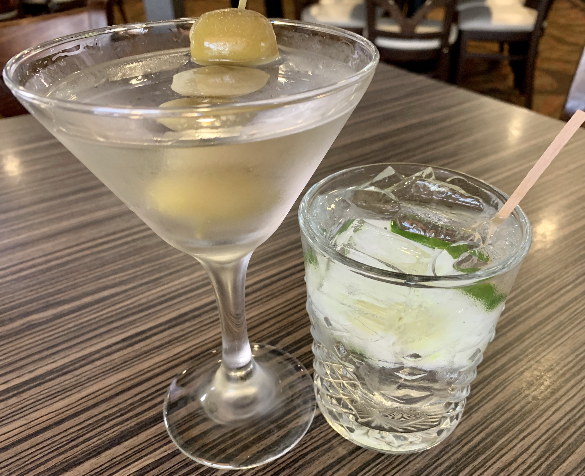 Compass Grille - Kevin's martini and Lori's vodka, soda and cucumber