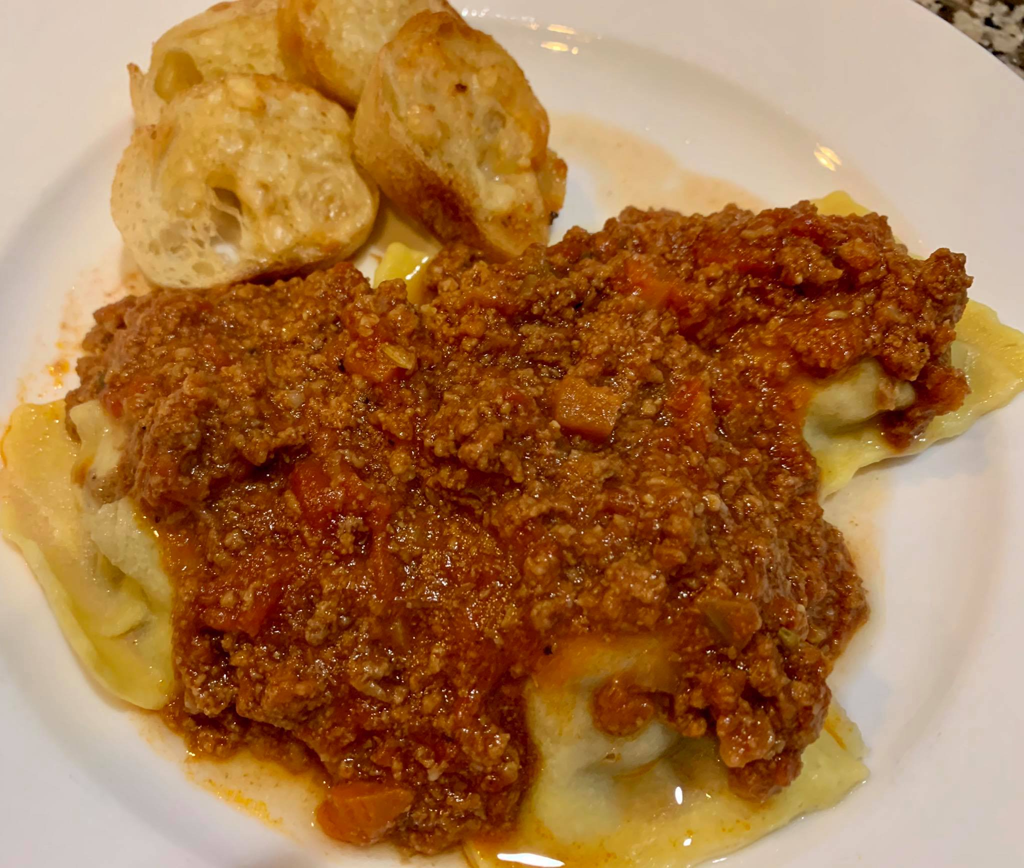 Short Rib Ravilolis with Bolognese from Gracie