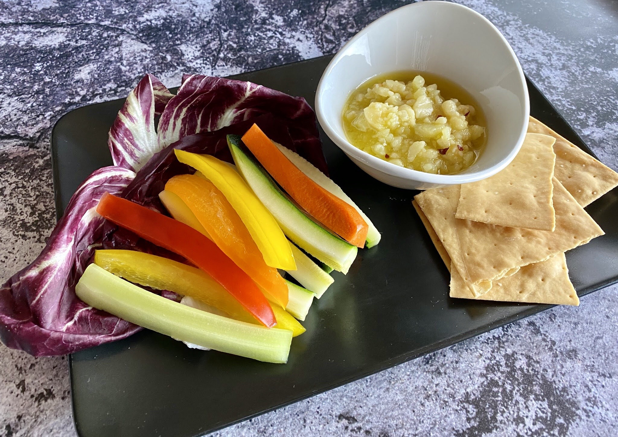 Two Graces - Glop made of parmesan, asiago, red chilis, extra virgin olive oil served with seasonal vegetables and crackers