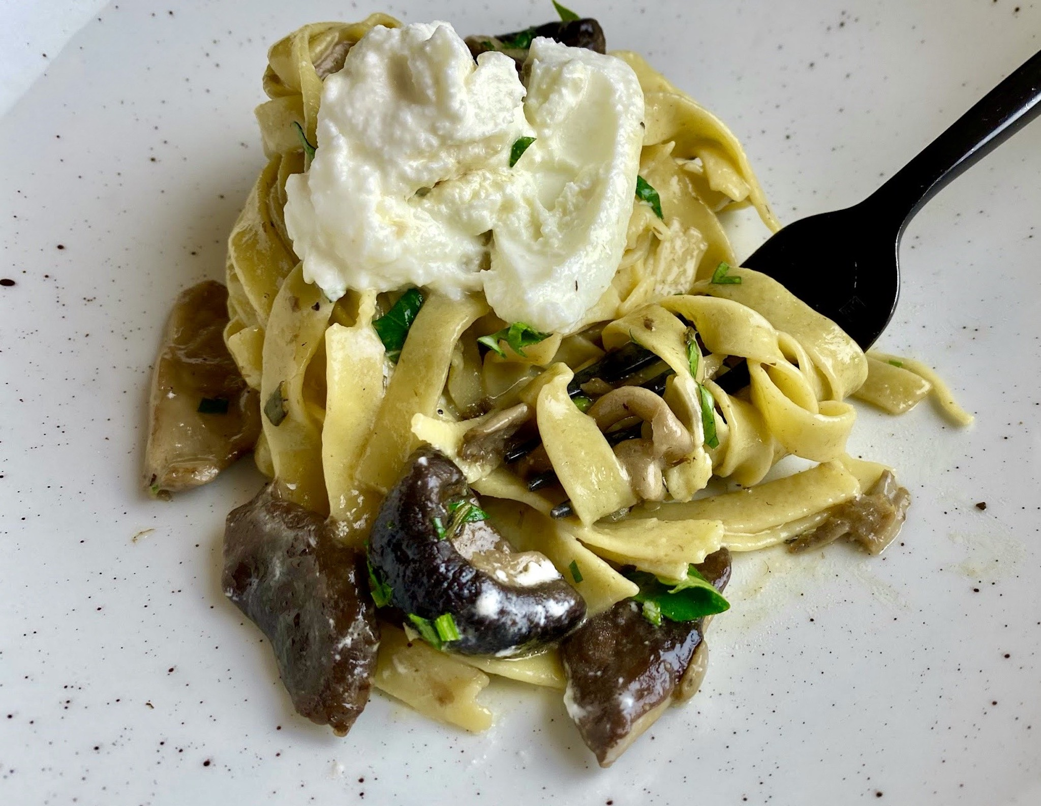 Two Graces - Gracie Fettucine with wild & tame mushrooms, goat cheese and herb butter