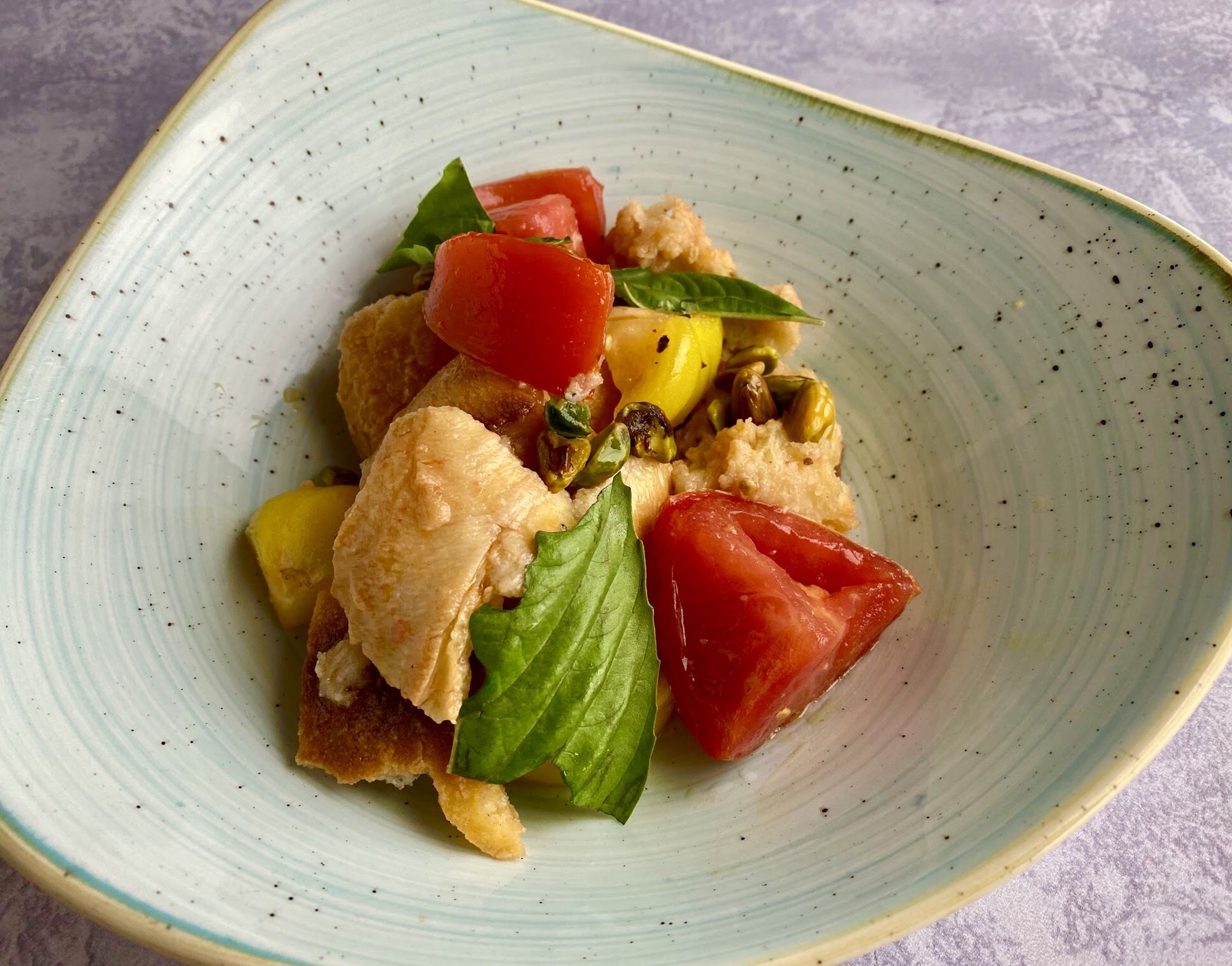 Two Graces - Heirloom Tomato Panzanella with fried pistachios and orange blossom water