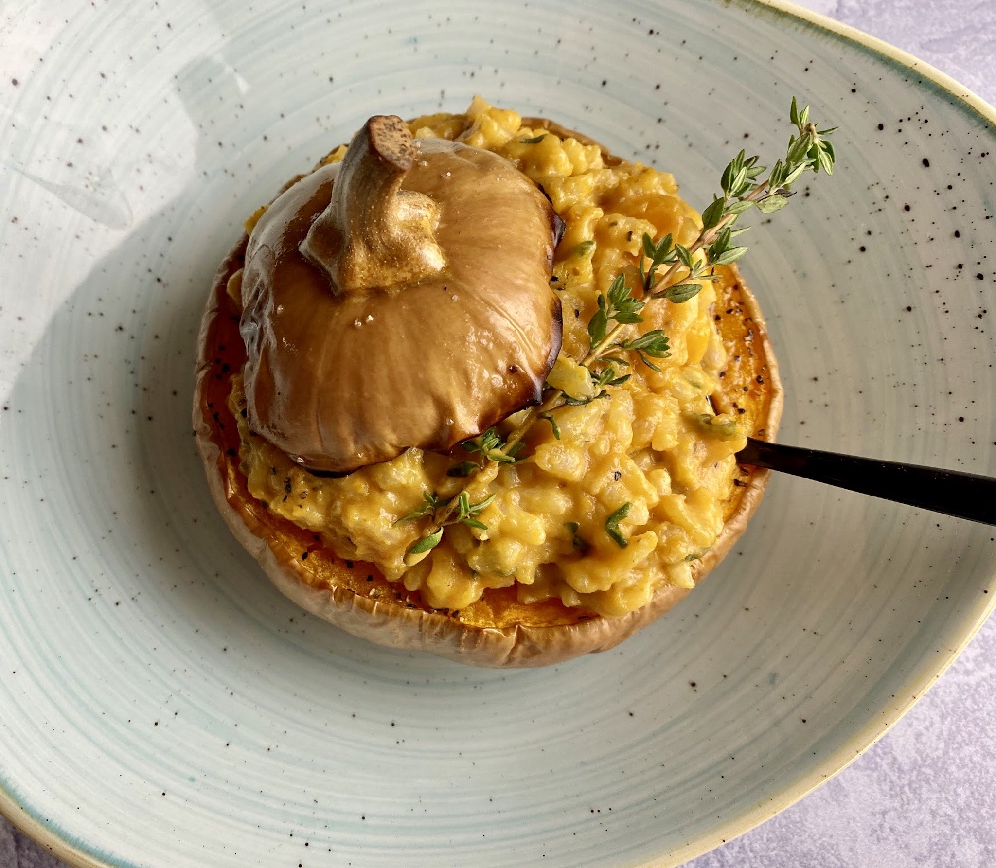Two Graces - Roasted Baby Pumpkin stuffed with pumpkin risotto and parmesan tuile