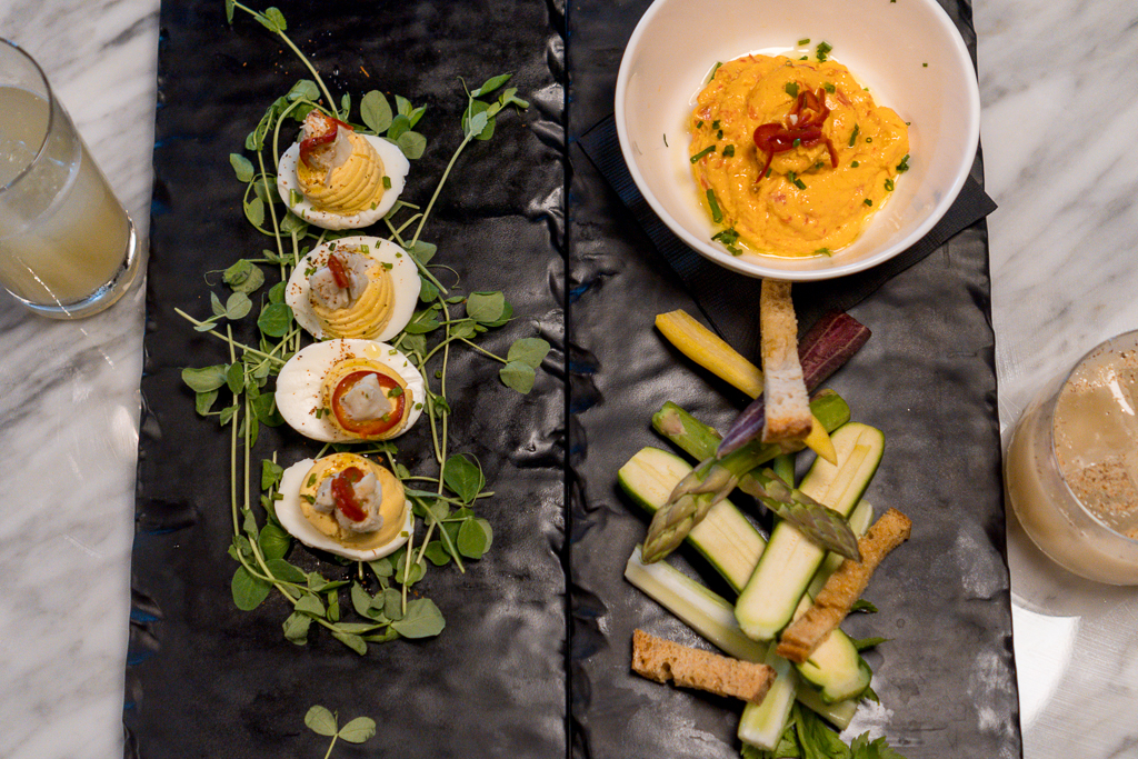 The Urban Stillhouse Deviled Crab Stuffed Eggs and Pimento Cheese