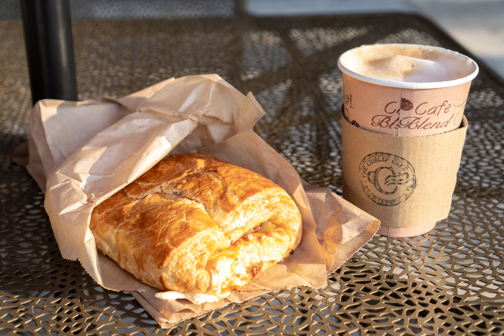 Crislip Cafe Ham Cheese Croissant and Latte
