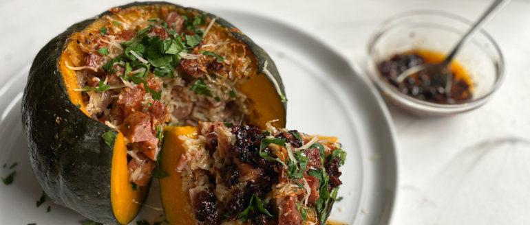 Cacio e Pepe Rice-Stuffed Kabocha Squash Recipe