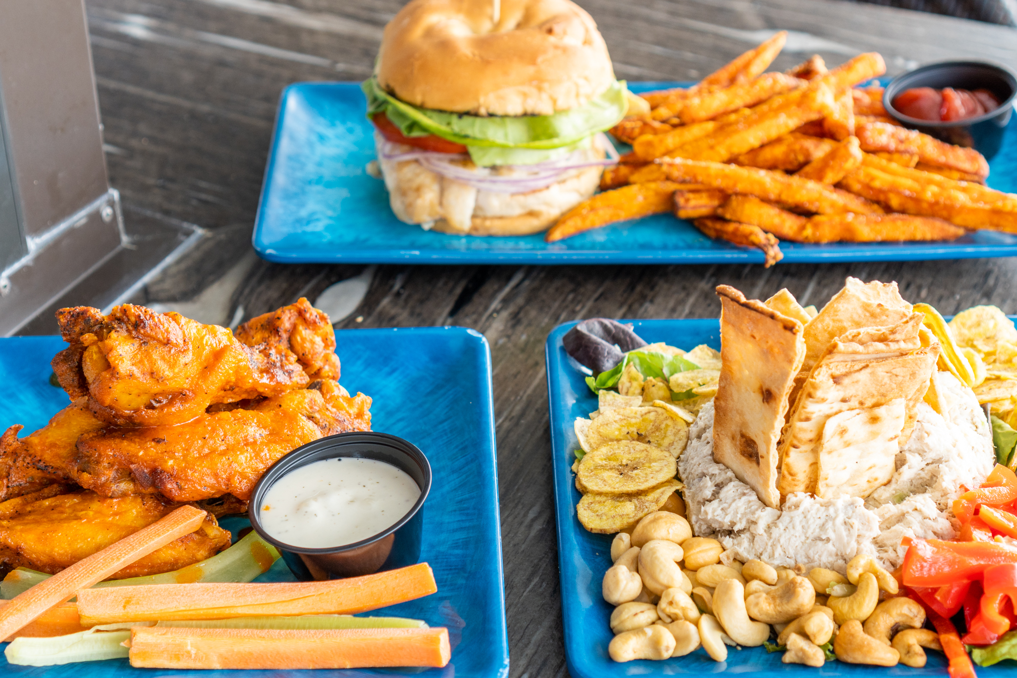 Pier Teaki Wings, Grouper Sandwich, Fish Spread