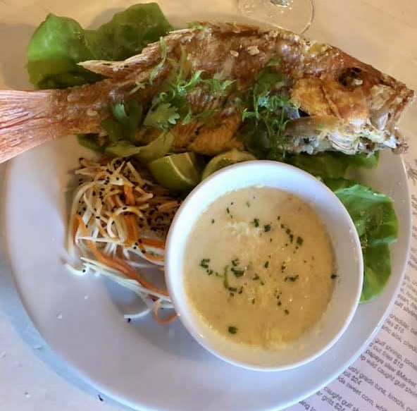 Whole snapper with an amazing cheddar grits and coleslaw
