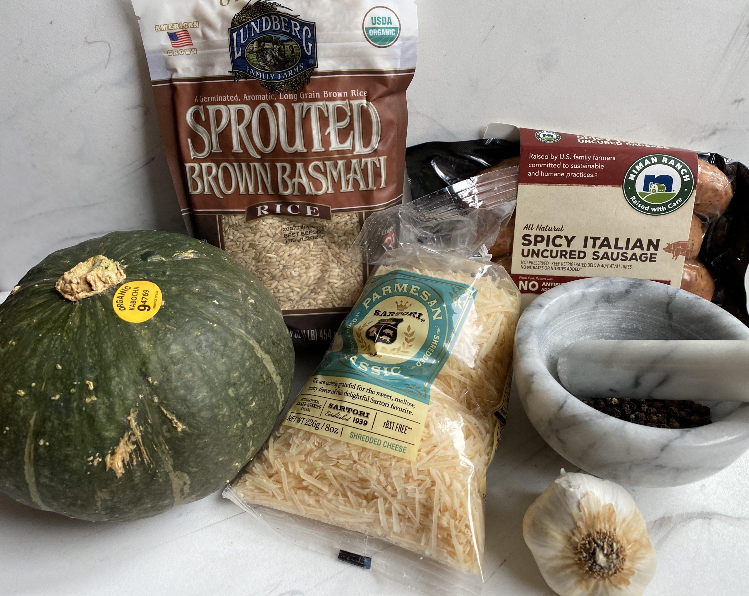 Cacio e Pepe stuffed Squash ingredients