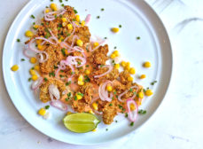 Fried Lost Coast Oysters with Tomato Butter, Pickled Shallots and Corn Recipe
