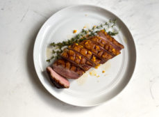 Sous Vide Duck Breast with Orange-Honey Pan Sauce and Root Vegetable Gratin Recipe