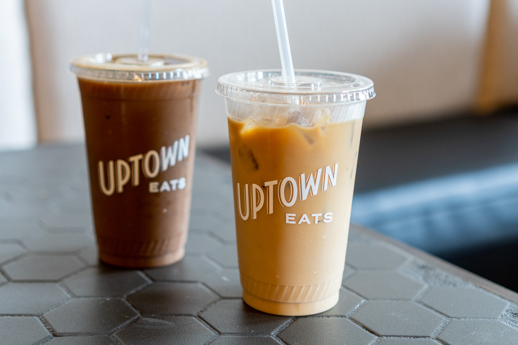Uptown Eats Mocha Iced Coffee and Iced Oat Milk Latte
