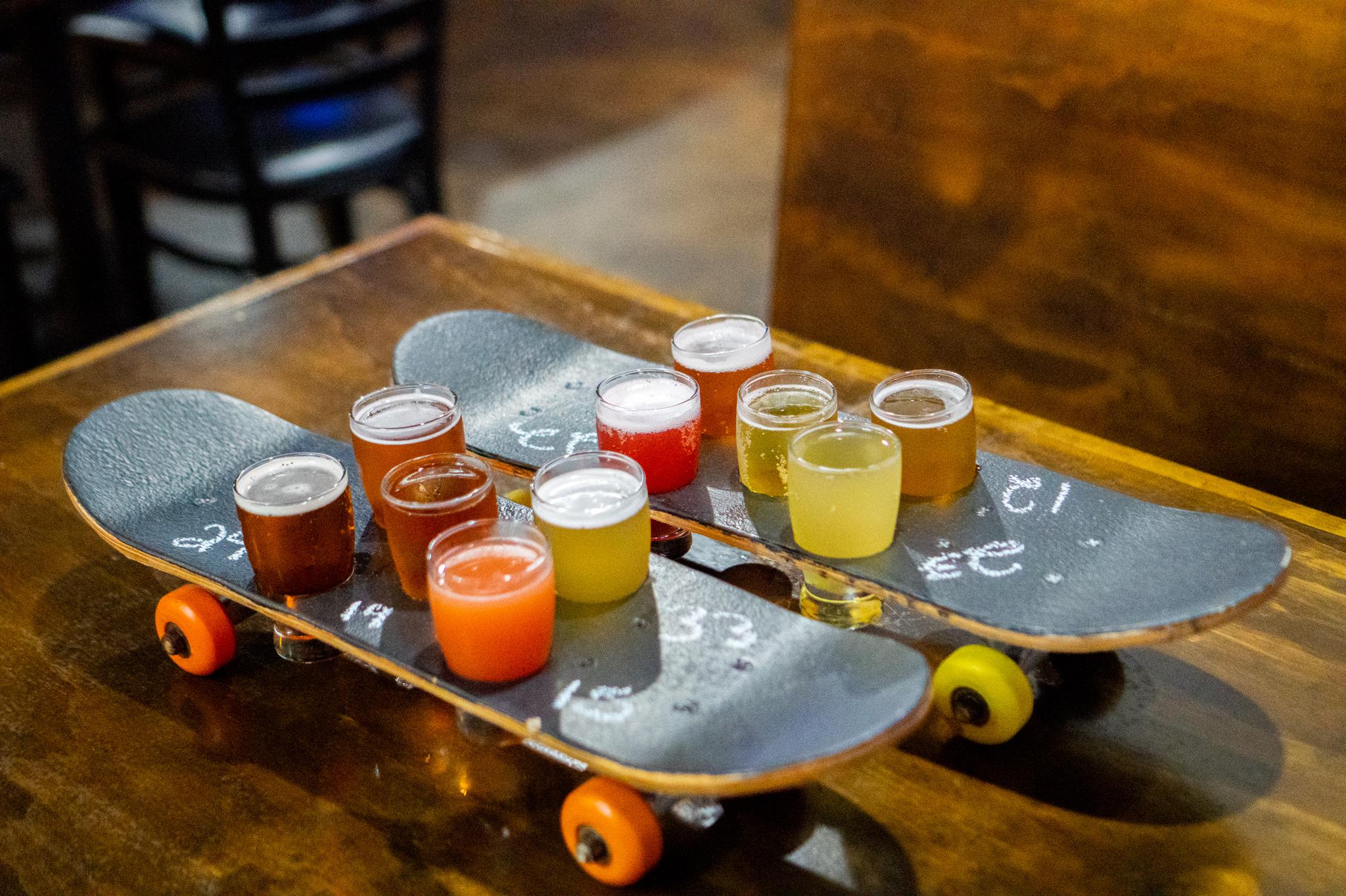 The Wheelhouse Skateboard Beer Flights