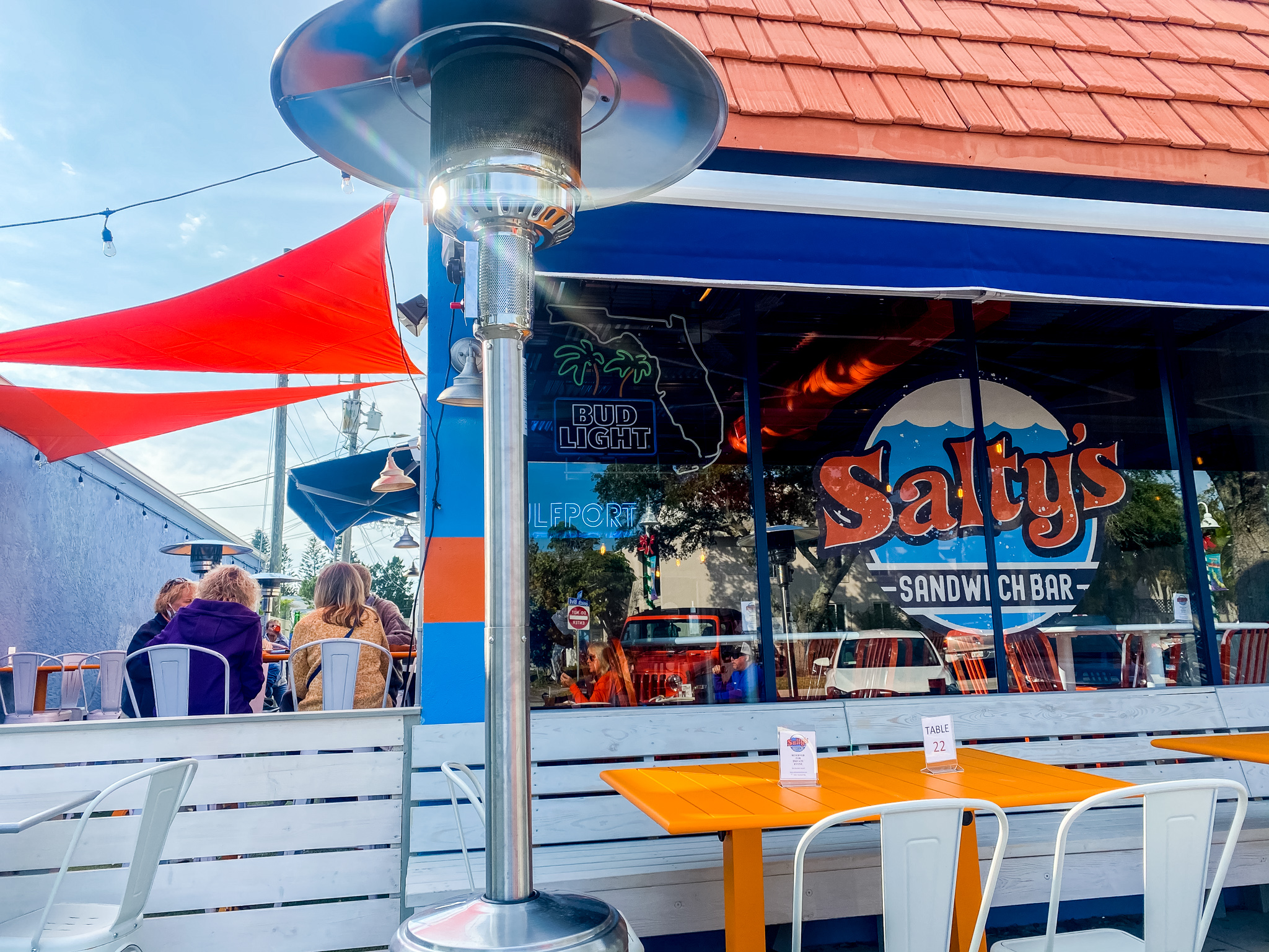 Salty's Sandwich Bar Exterior with Outdoor and Patio Seating