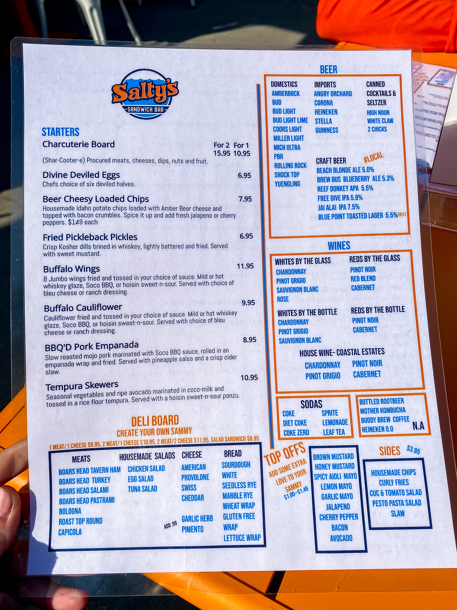 Salty's Sandwich Bar Menu
