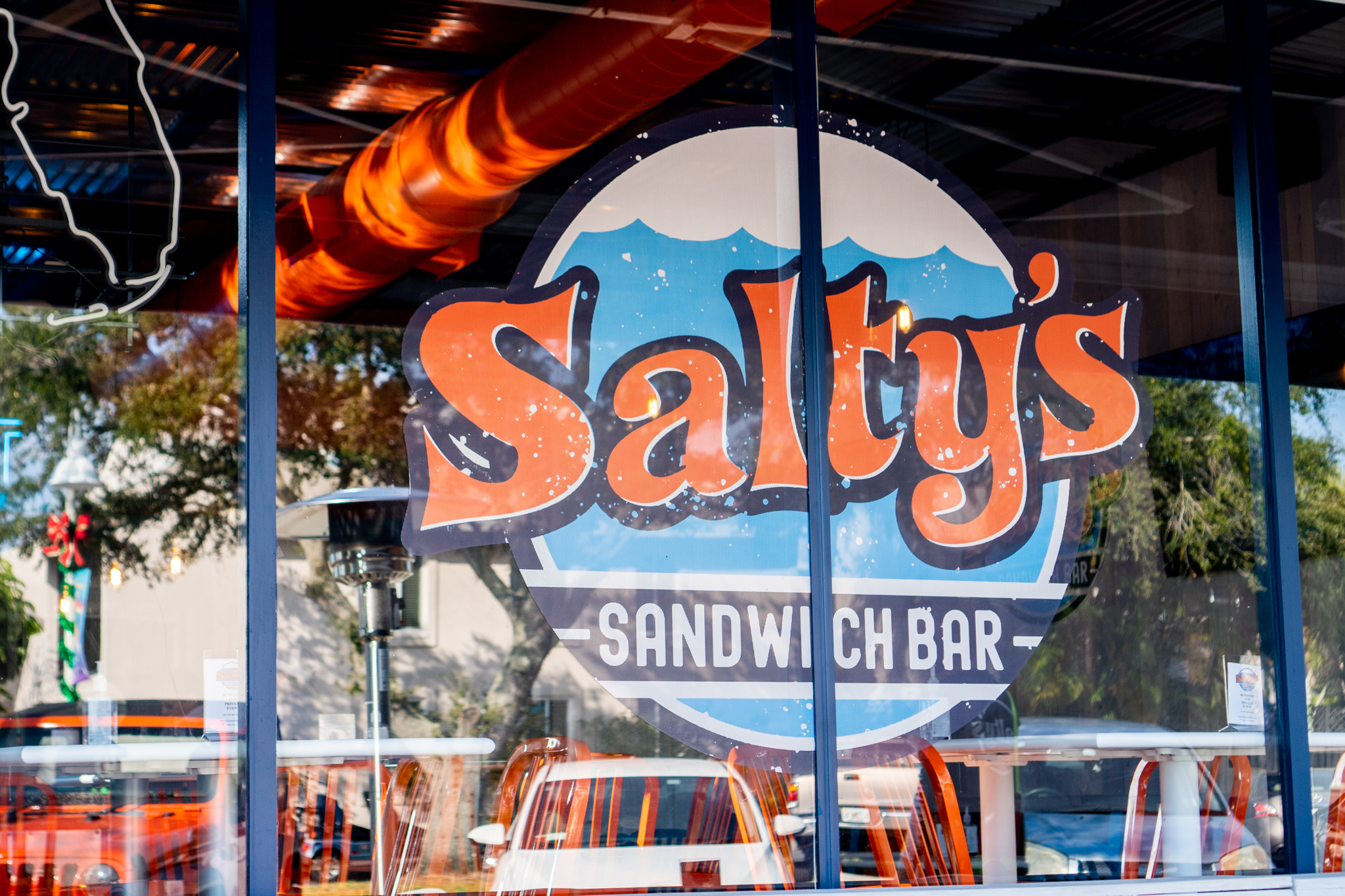 Salty's Sandwich Bar Window Sign