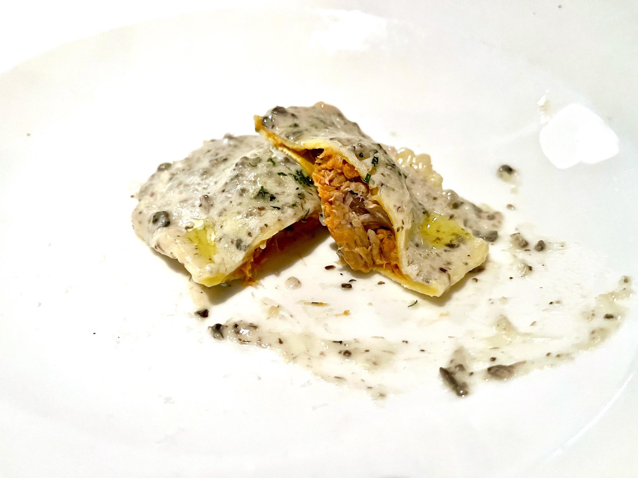 Sea Salt Veal Ravioli with a Truffle Cream Sauce