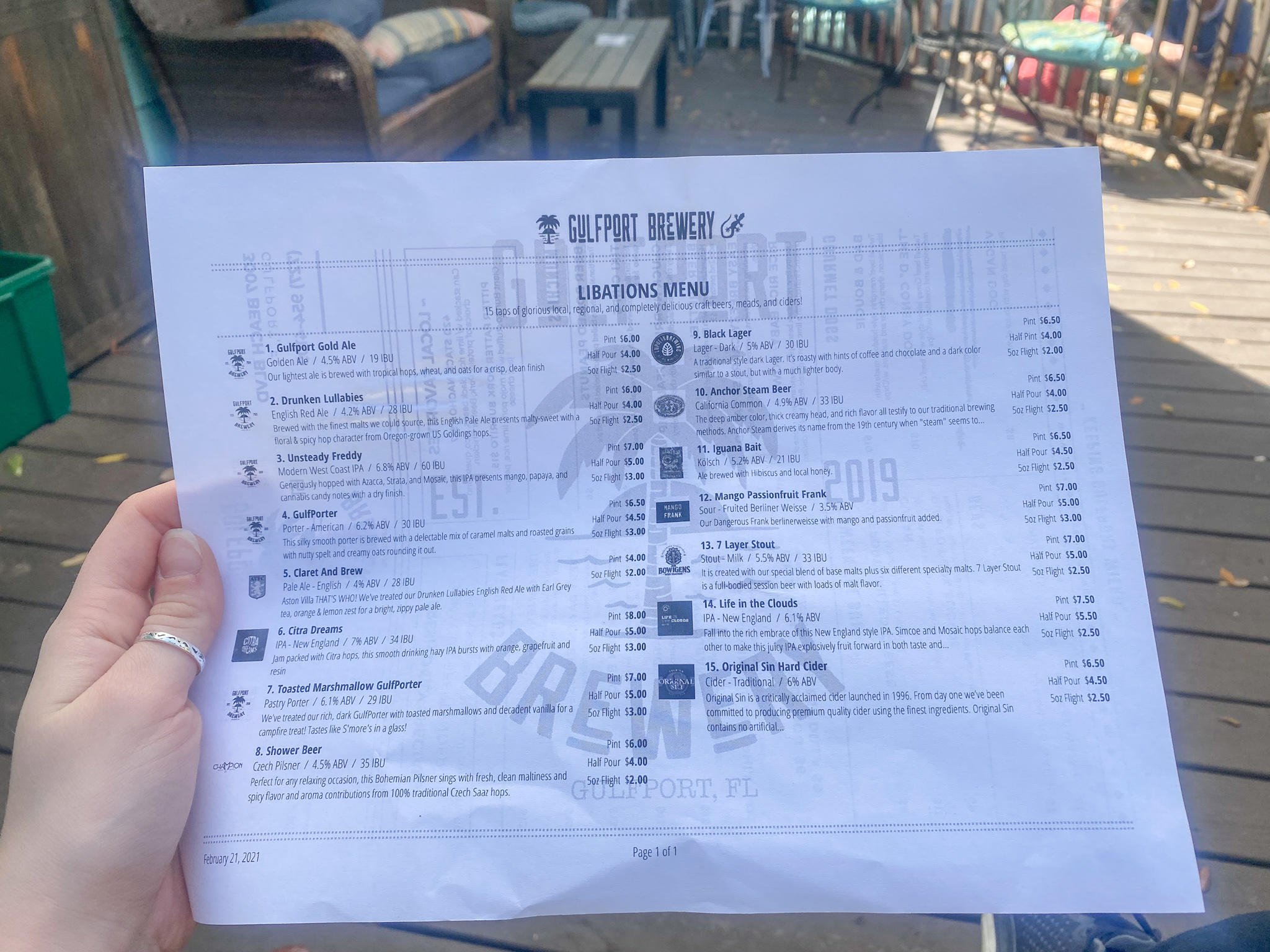 Gulfport Brewery and Eatery Craft Beer List