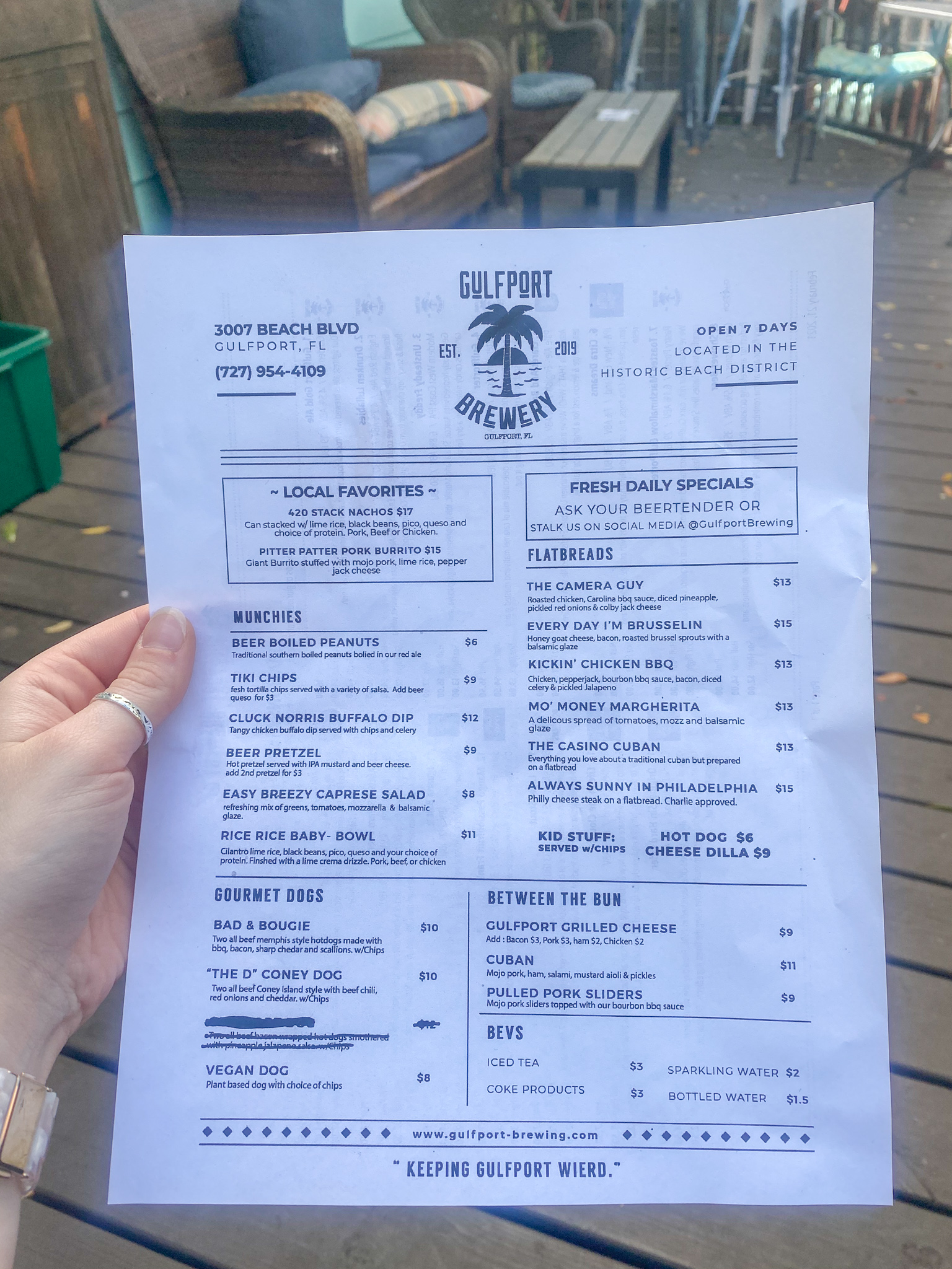 Gulfport Brewery and Eatery Food Menu