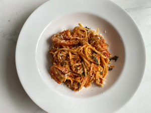 Plated Shrimp Fra Diavolo with Toasted Breadcrumbs