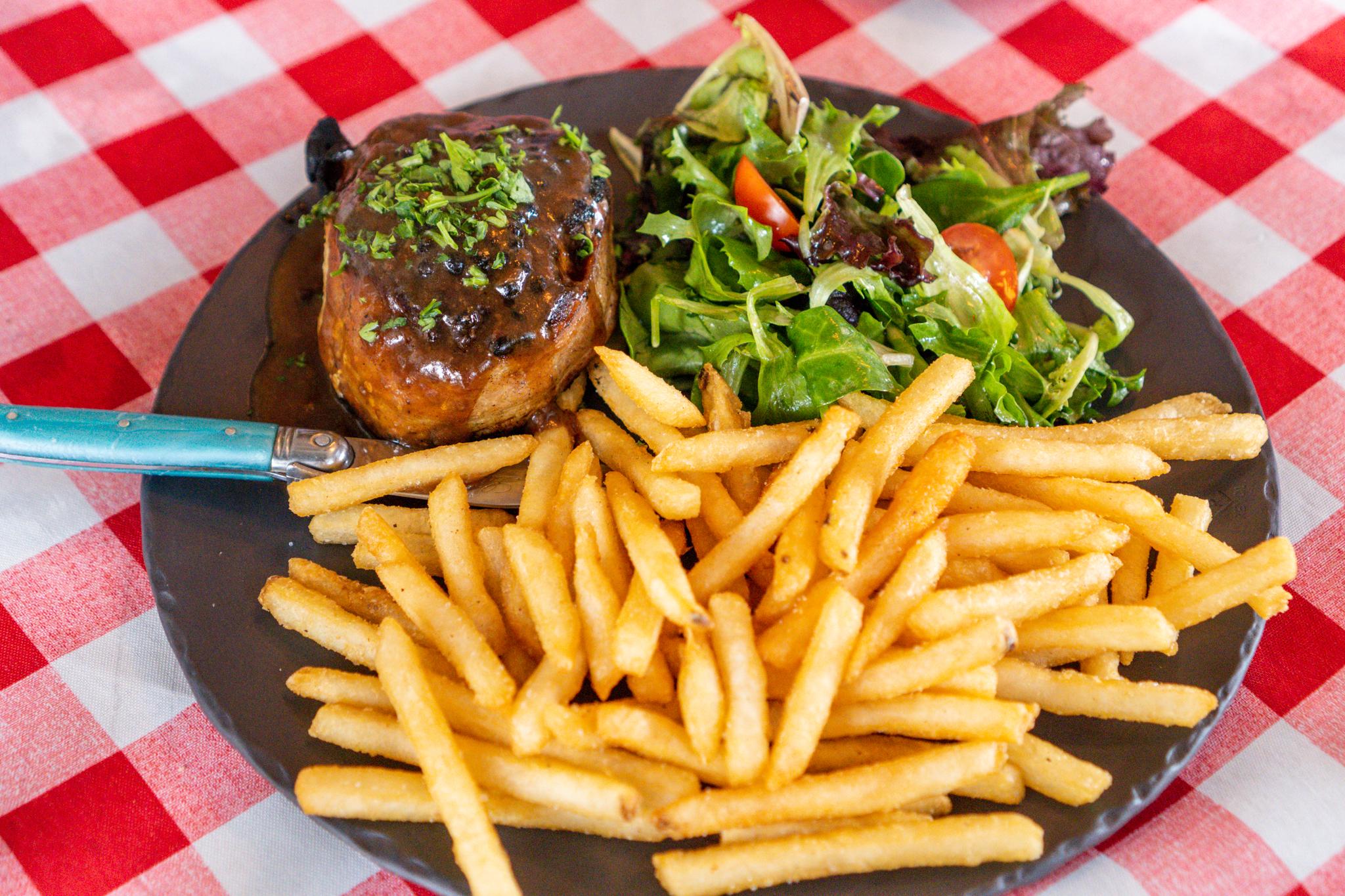 Alsace Steak Au Poivre, French Fries, Salad