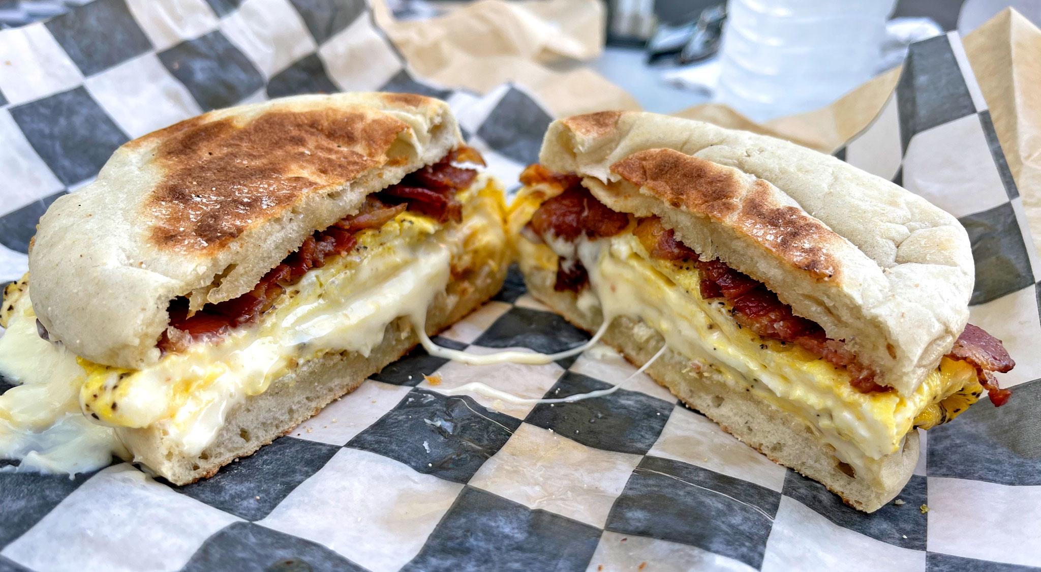 Bacon Egg & Cheese Breakfast Sandwich on English Muffin