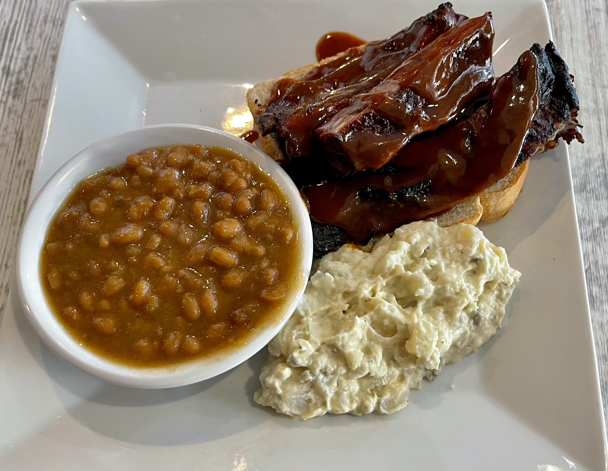 Betterway BBQ Ribs Platter with Baked Beans and Potato Salad