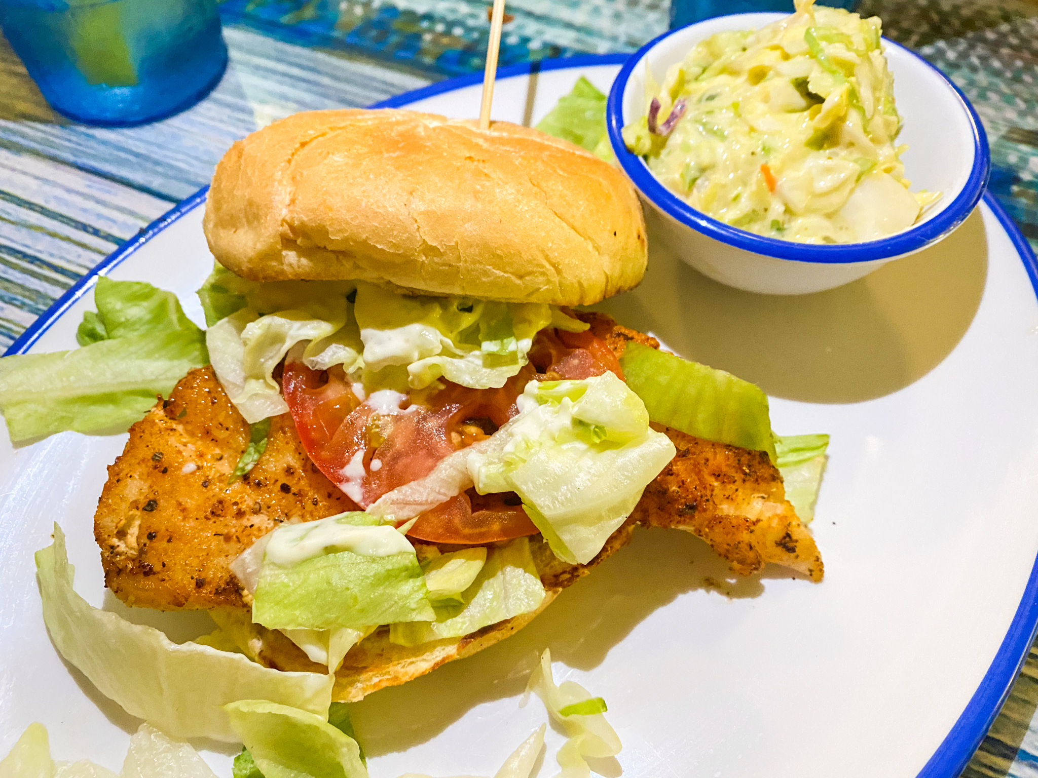 Buoys Waterfront Bar and Grill Blackened Gulf Grouper Sandwich