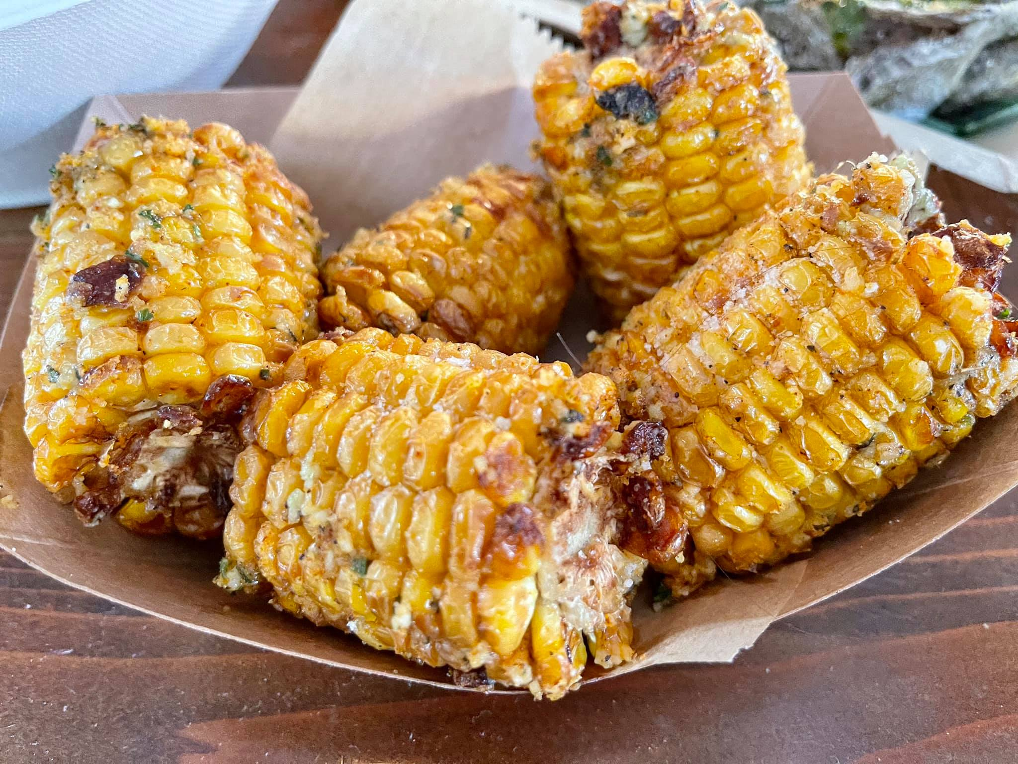 Fried Street Corn- sweet corn with grated parmesan