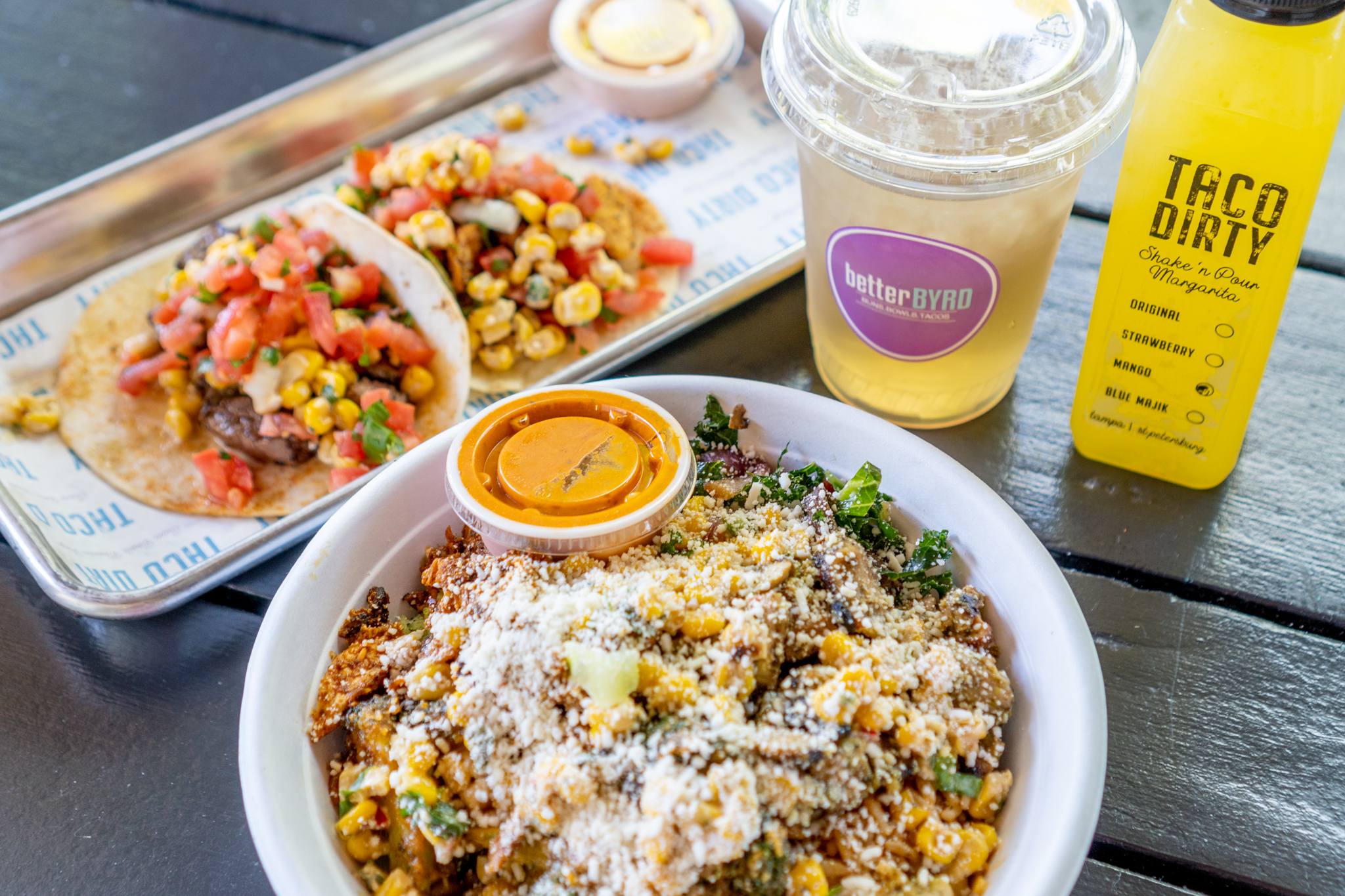 On The Fly Taco Dirty Bowl, Tacos and Drinks
