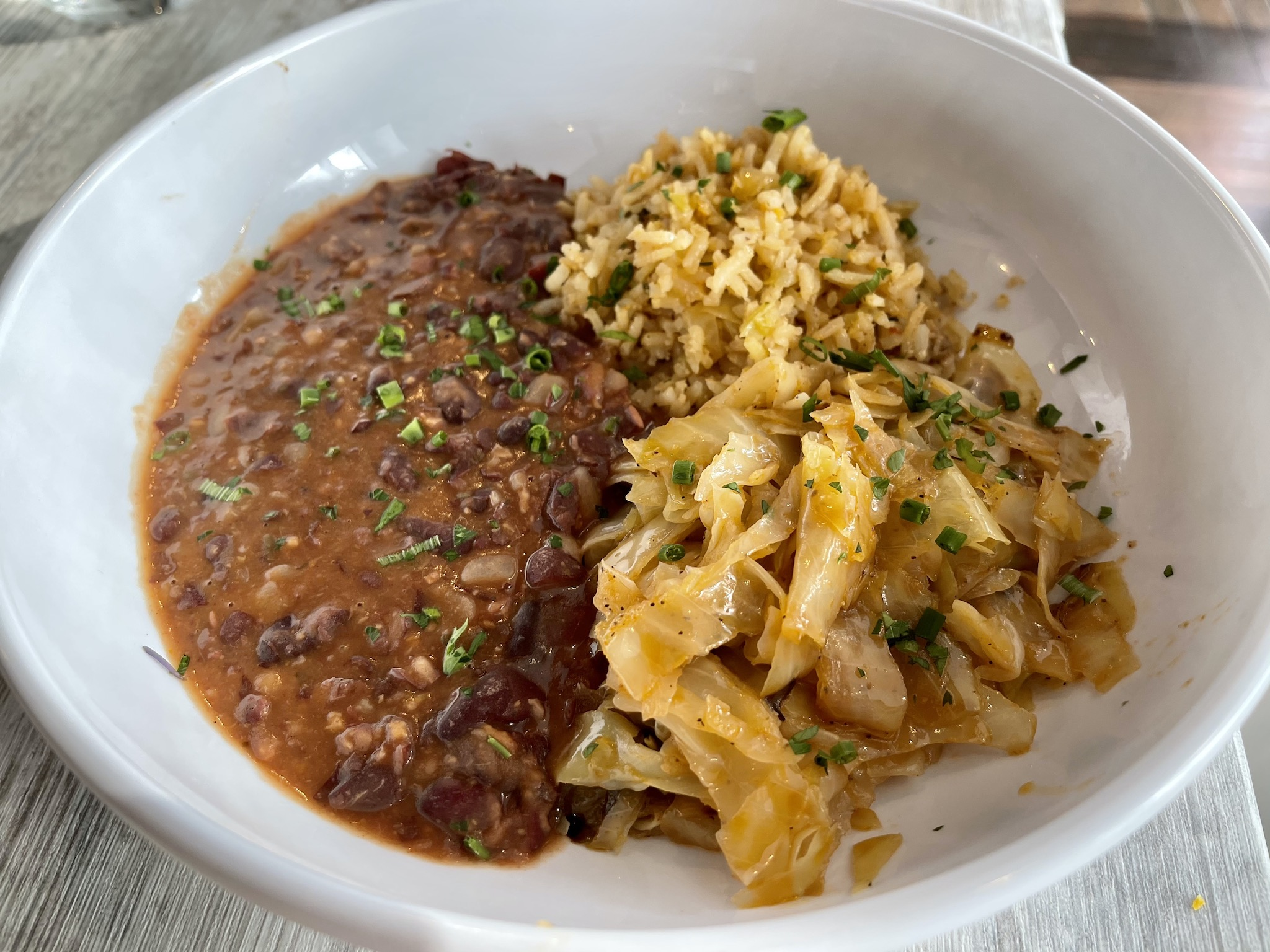 Ray's Vegan Soul Red Beans Dirty Rice with Fried Cabbage