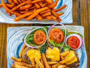 Burger-Ish Geez Louise Sliders and Sweet Potato Fries