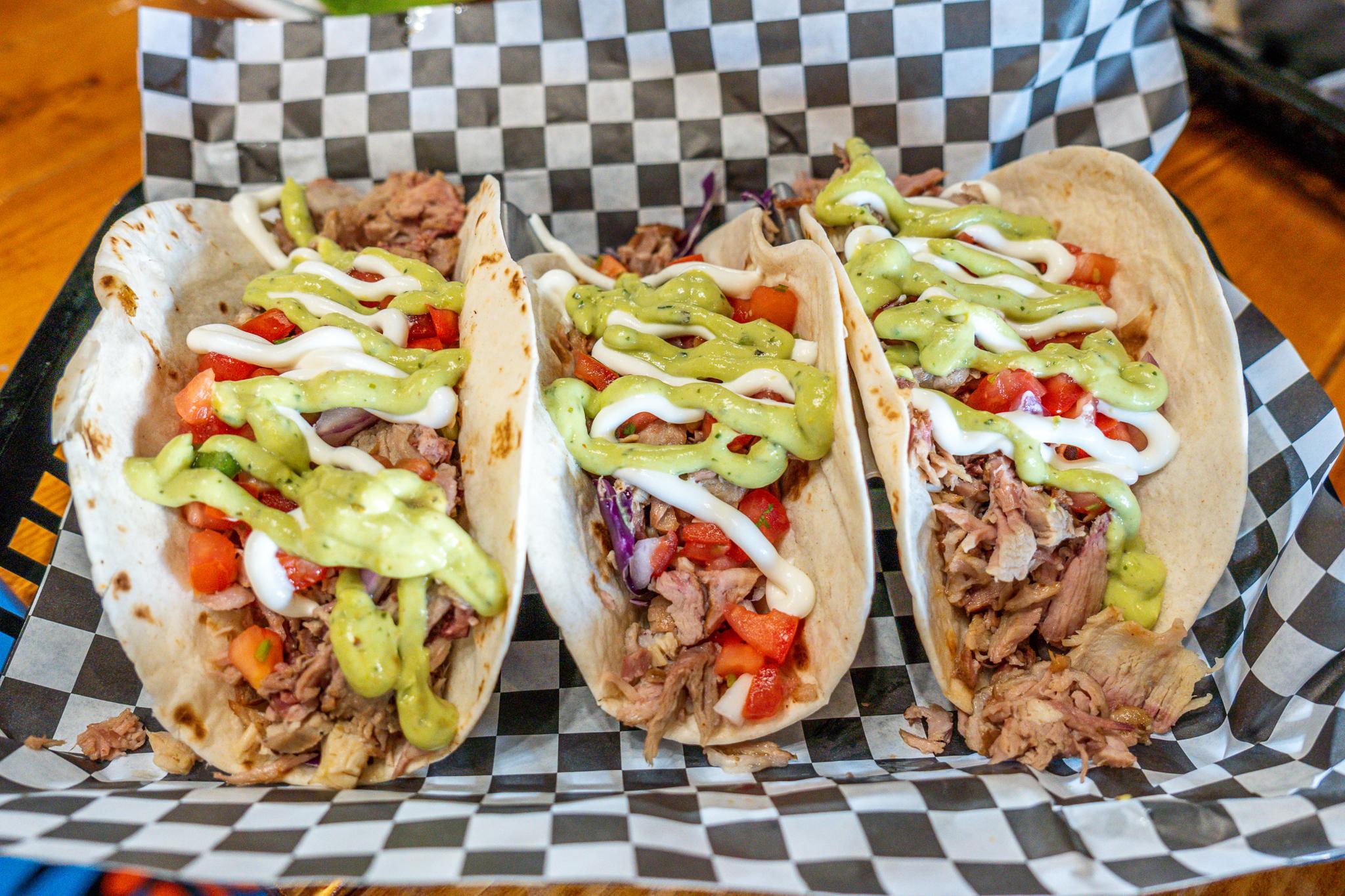 Burger-Ish Pulled Pork Tacos