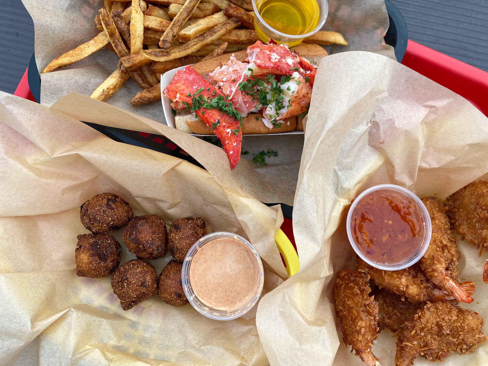 Coconut Shrimp, Lobster Roll and the Hush Puppies