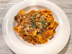Pappardelle - oyster mushrooms, caramelized Tropia onion, lamb sugo, mint.