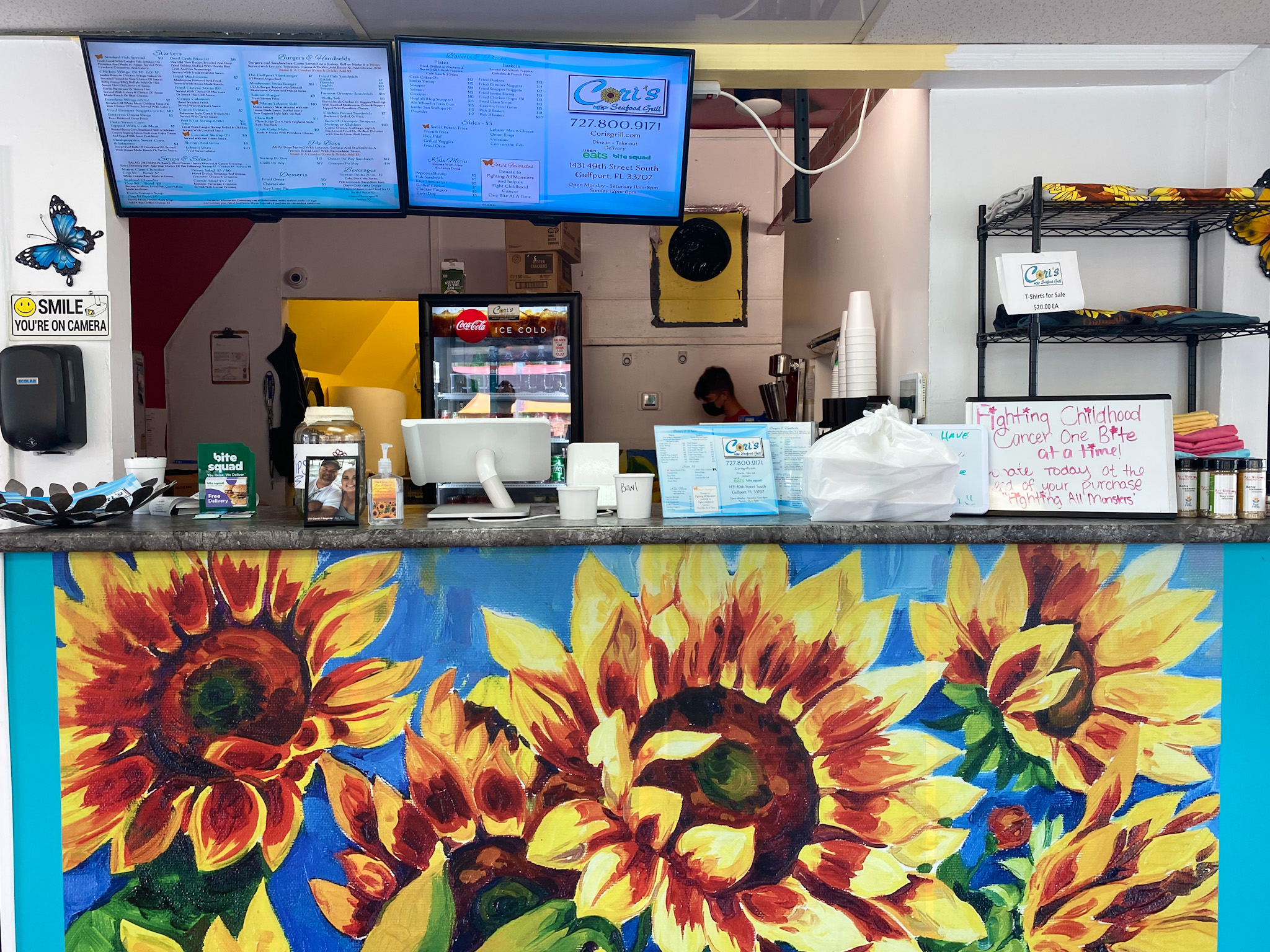 Sunflower-covered front desk at Cori's Seafood Grill