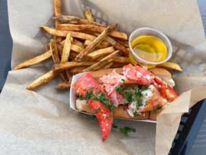 The incredible Lobster Roll and fries on the side