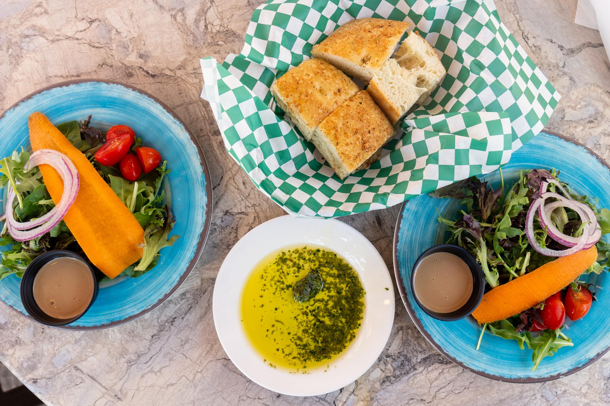 Tutto Bene House Salads and Focaccia Bread