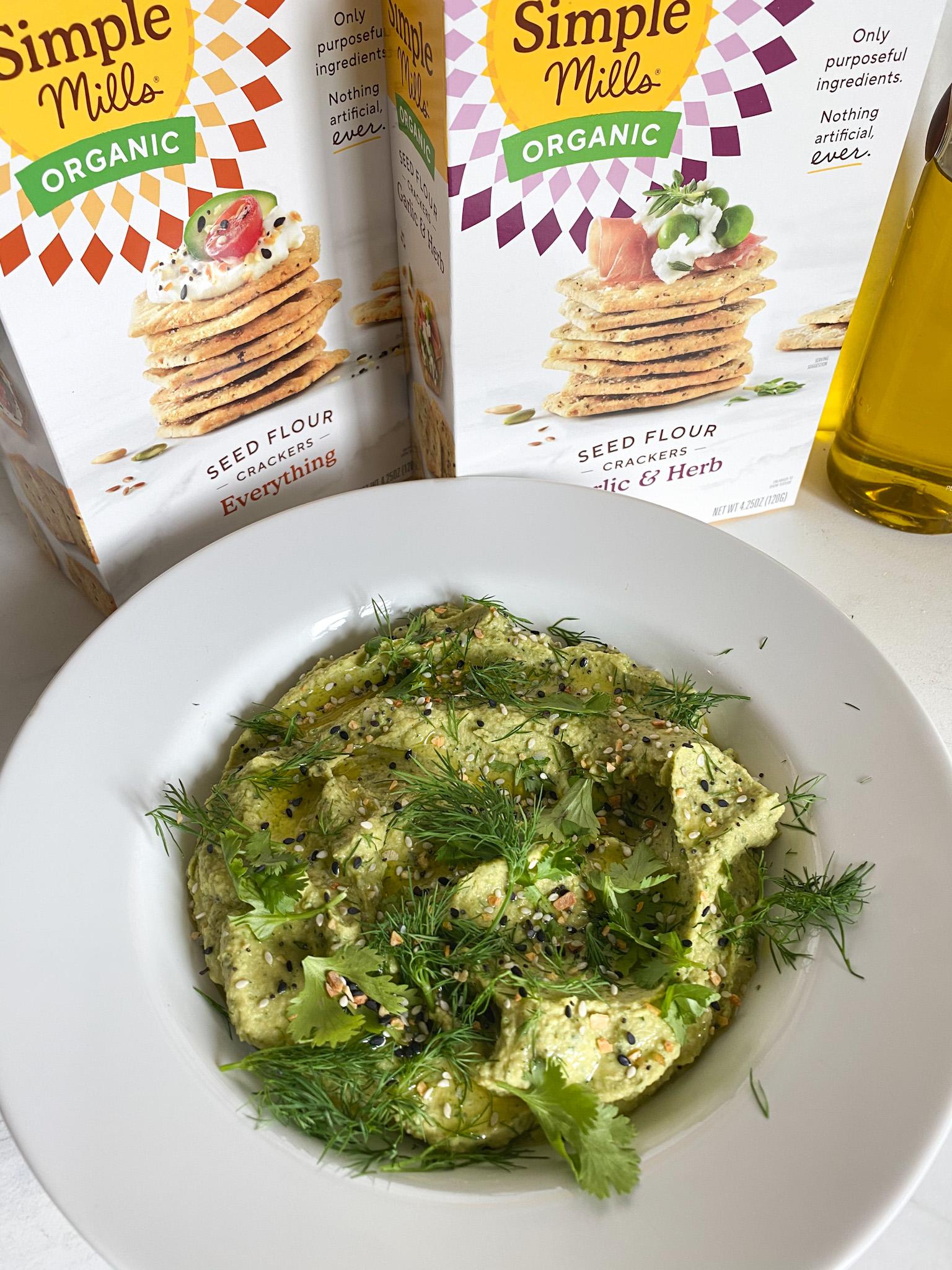 Avocado Hummus with Simple Mills crackers