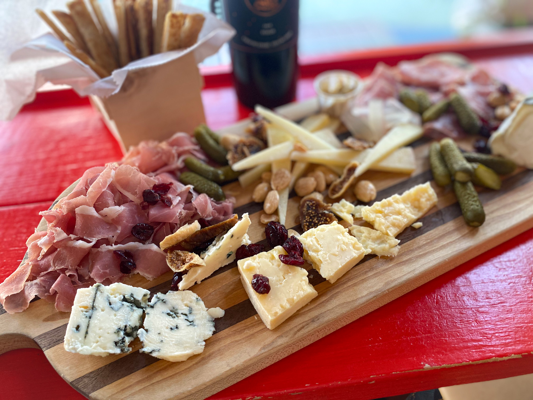 Cheese and charcuterie portrait mode