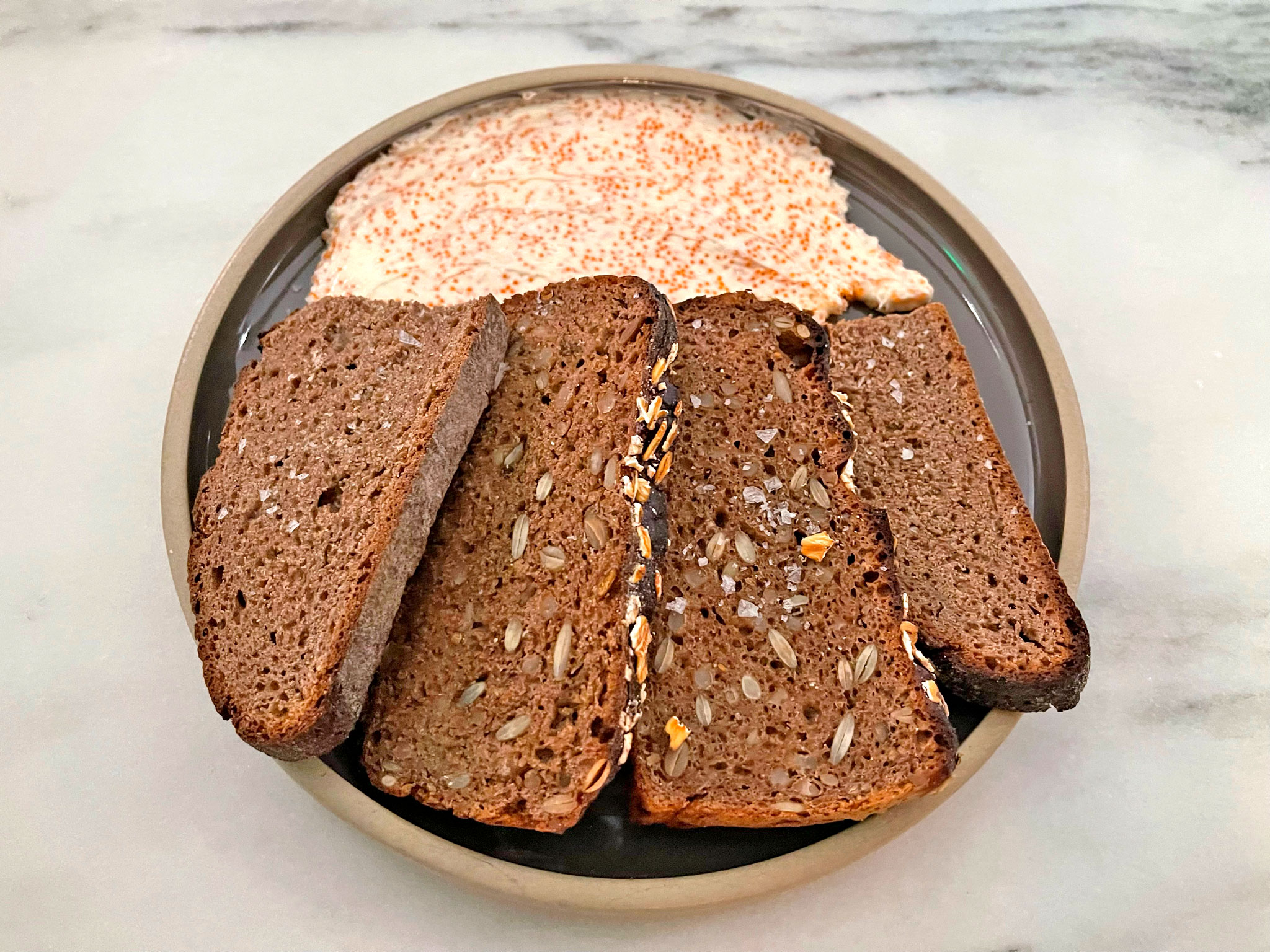 Jamison Pan Seeded & Round Rye Bread with Whipped Roe Butter